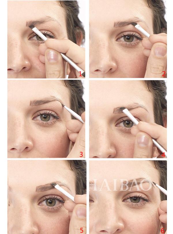 时尚 美妆 正文  步骤图  step1:用一支眉部高光笔或者眉笔如上图所示